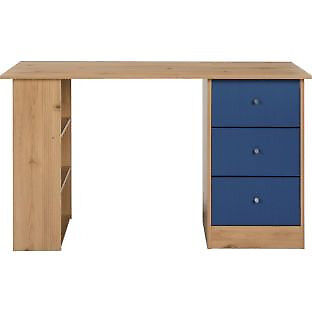 New Malibu 3 Drawer Desk - Blue on Pine