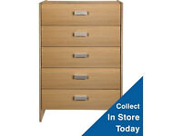 New Capella 5 Drawer Chest - Oak Effect