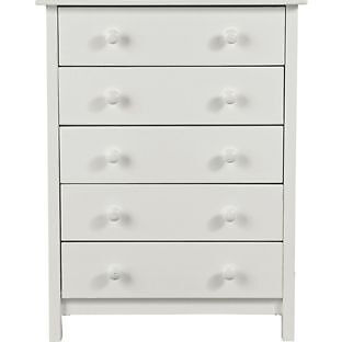 New Scandinavia 5 Drawer Chest - White