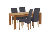 Heart of House Aspley Table & 4 Charcoal Skirted Chairs.