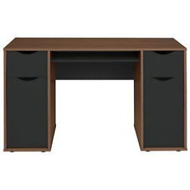 Hygena Berkeley Double Pedestal Desk - Black & Walnut Effect