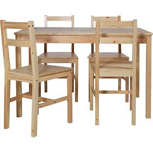 Raye Wooden Dining Table and 4 Natural Chairs