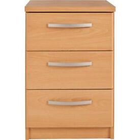 New Hallingford 3 Drawer Bedside Chest - Beech Effect
