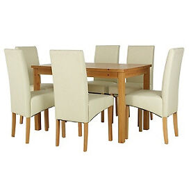 Lincoln Oak Effect 150cm Dining Table and 6 Cream Chairs