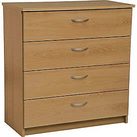 Fully assembled Cheval 4 Drawer Chest - Oak Effect