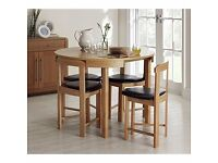 Space saving dining table and 4 chairs