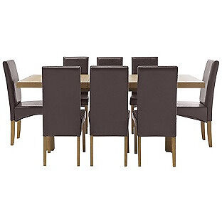 Cosgrove Ext Oak Stain Dining Table & 8 Chocolate Chairs.