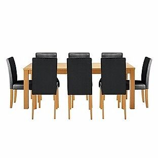 Hemsley Extendable Dining Table & 8 Black Chairs. (NEW)