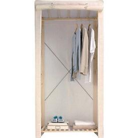 Argos Value Range Polycotton and Wood Single Wardrobe -Cream