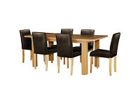 Shenley Oak Veneer Extendable Table & 6 Chocolate Chairs