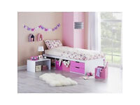 Callum Cabin and Pullout Desk Bed Frame - Pink