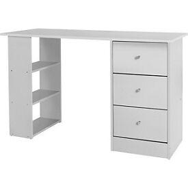 New Malibu 3 Drawer Desk - White