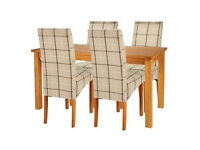 Lincoln Oak Effect 150cm Dining Table and 4 Checked Chairs