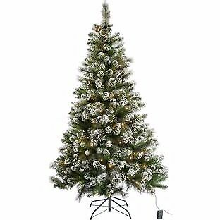 6ft Pre-Lit Snow Tipped Christmas Tree with 180 Lights