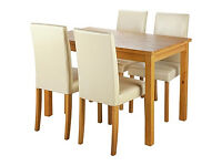 HOME Ashdon Oak Stain 120cm Dining Table & 4 Cream Chairs