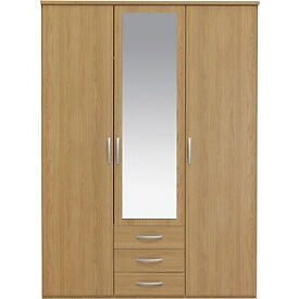 New Hallingford 3 Dr 3 Drw Mirrored Wardrobe - Oak Effect