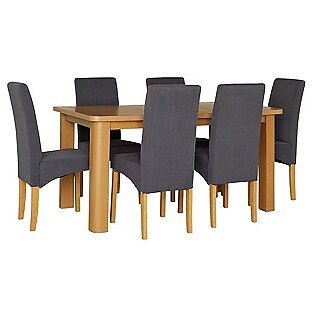 HOME Stonebury Table & 6 Skirted Chairs -Oak Stain Charcoal