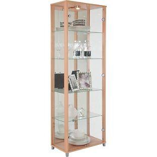 Double Glass Door Display Cabinet - Beech Effect