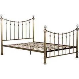 Schreiber Oborne Metal Double Bed Frame - Brass Crystal