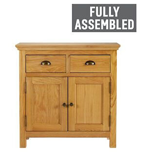 Westminster 2 Door 2 Drawer Mini Sideboard- Oak & Oak Veneer