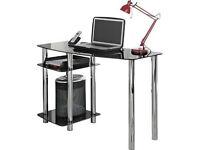 Hygena Matrix Glass Office Desk - Black