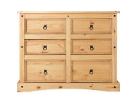 Puerto Rico 3+3 Drawer Chest - Pine
