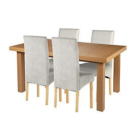 Cosgrove Ext Oak Stain Dining Table & 4 Grey Chairs.