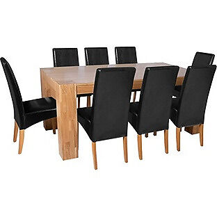 Heart of House Alston Dining Table and 8 Chairs - Oak Black