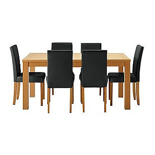 Hemsley Extendable Dining Table & 6 Black Chairs.