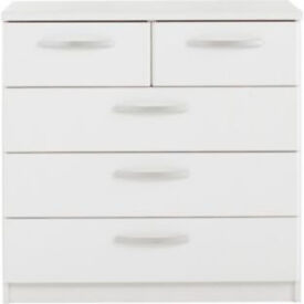 New Hallingford 3+2 Drawer Chest - White