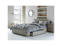 Hygena Paxton Kingsize Bed with Storage - Latte