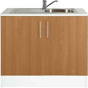 Athina 1000mm Stainless Steel Kitchen Sink Unit - Beech