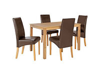 Bromham Oak Dining Table and 4 Chocolate Skirted Chairs