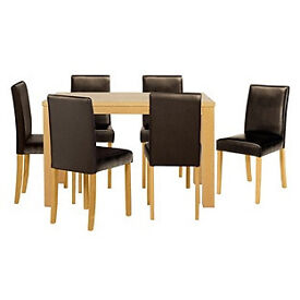 Pemberton Oak Effect Dining Table & 6 Chocolate Chairs.