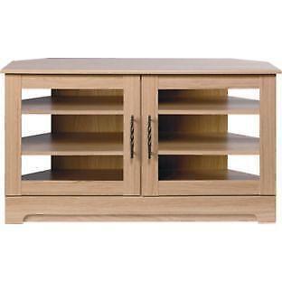 oak corner tv unit ebay. Black Bedroom Furniture Sets. Home Design Ideas
