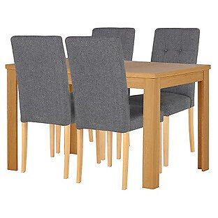 "Adaline Oak Effect Ext Dining Table and 4 Chairsin Bradford, West YorkshireGumtree - Furniture is new. Call me if you would like to know more. ""Table Size H75, L120, W80cm. Size of table extended L160cm. Integral table extension. Removable table extension piece. Oak effect table. Oak effect legs. Chairs 4 chairs. Size of each chair..."