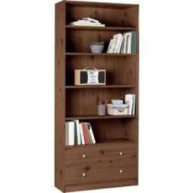 Maine 2 Drawer Extra Deep Bookcase - Walnut Effect