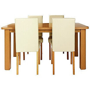 HOME Heyford Extendable Dining Table and 4 Chairs - Cream