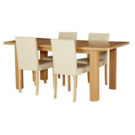 Shenley Oak Veneer Extendable Table & 4 Cream Chairs
