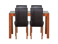 Newton Walnut Stain Dining Table & 4 Black Chairs