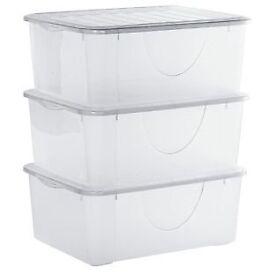 3 Plastic Stackable Shoe Boxes.