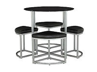 Tokyo Round Space Saver Dining Table and 4 Stools - Black