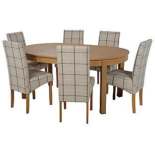 """Massey Wood Effect Extendable Table and 6 Checked Chairsin Salford, ManchesterGumtree - new and in good condition, flatpacked """"Part of the Massey collection. Table Size H75, L115, W115cm. Size of table extended L166cm. Integral table extension. Wood effect table. Chairs 6 chairs. Size of each chair H95, W44, D56cm. Upholstered frame...."""