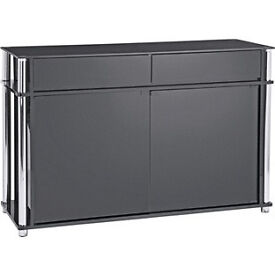Hygena Matrix 2 Door 2 Drawer Large Sideboard - Black Glass