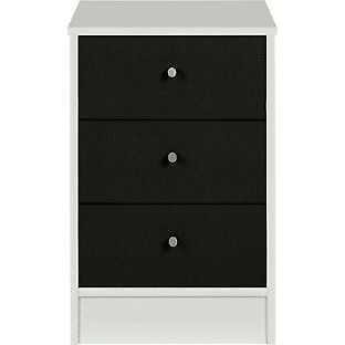 New Malibu 3 Drawer Bedside Chest - Black on White