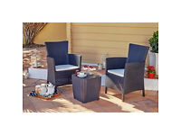 Iowa Rattan Effect 2 Seater Bistro Set - Graphite