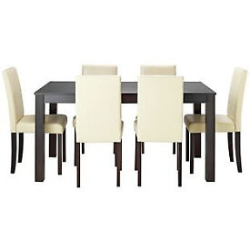 New Elmdon Black Dining Table & 6 Cream Chairs