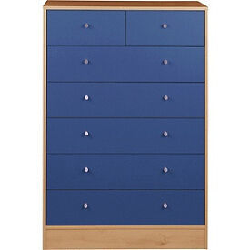 New Malibu 5+2 Drawer Chest - Blue on Pine