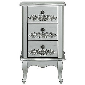 Sophia 3 Drawer Bedside Chest - Silver