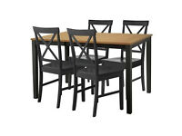Extendable Dining Table & 4 Black Cross Back Chairs.